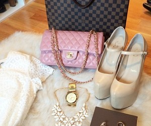 tote, pink purse, and nude high heels image