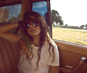 girl, car, and sunglasses image