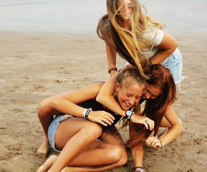 beach, blonde, and friendship image