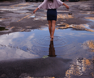 girl, pretty, and puddle image