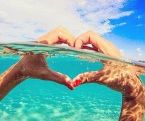 hand, ocean, and heart image