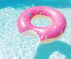 candy, swimmingpool, and donut image