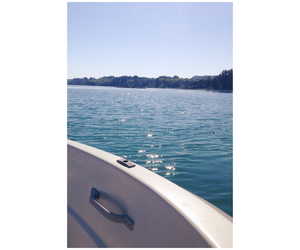 beautiful, blue, and boat image