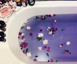 flowers, bath, and purple image