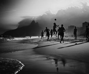black and white, brazil, and football image