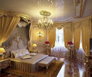 bedroom, gold, and luxury image