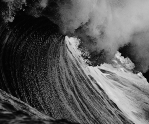 black and white, wave, and landscape image