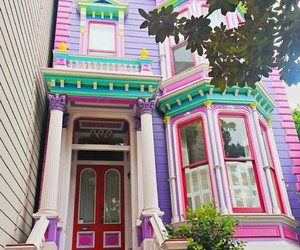 house, pink, and purple image