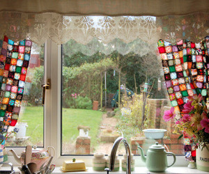 window, kitchen, and curtains image