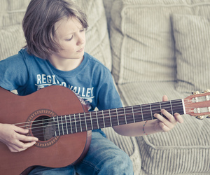 boy, guitar, and little boy image