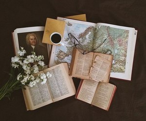 books, coffee, and map image