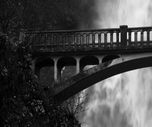 landscape, black and white, and bridge image