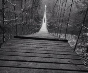 black and white and bridge image