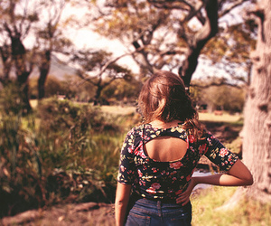 girl, floral, and nature image