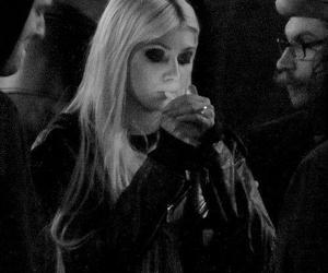 Taylor Momsen, black and white, and smoke image