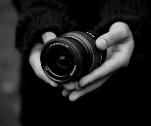 black and white, cam, and hand image