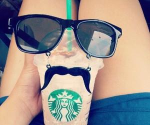 starbucks, mustache, and coffee image