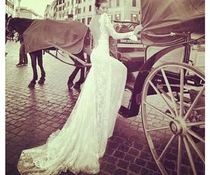 dress, horse, and wedding dress image