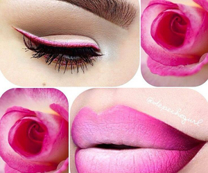 eyeliner, flower, and make-up image