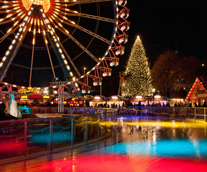 christmas, lights, and ferris wheel image
