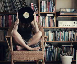 books, girl, and records image