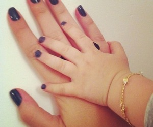 child, nails, and family image