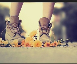 boots, brown, and flowers image