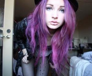 girl, hair, and purple hair image