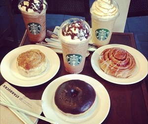 starbucks, food, and donuts image