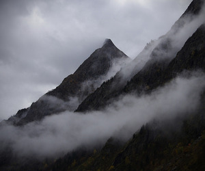 clouds, fog, and mountains image