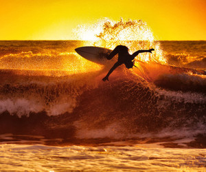 surf, ocean, and sunset image