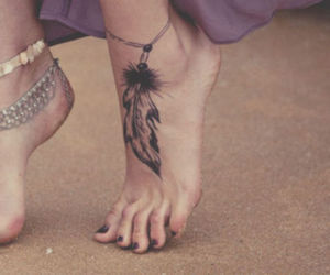 feather, tattoo, and feet image