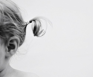 hair, baby, and black and white image