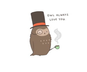 coffee, owl, and top hat image