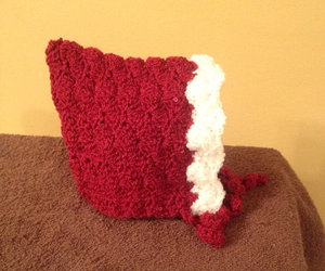 baby shower gift, red and white baby hat, and pixie baby hat image