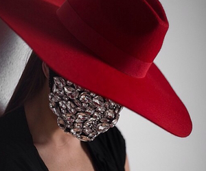 bling, red, and hat image