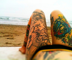 tattoo, beach, and legs image