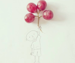 grapes, boy, and balloons image