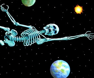 skeleton, space, and planet image