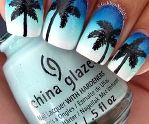 nail, nail art, and palm tree image