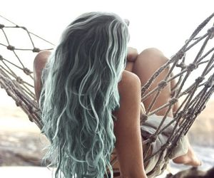 colored, hair, and mermaid image