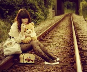 girl, alone, and train image
