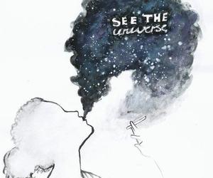 universe, drawing, and smoke image