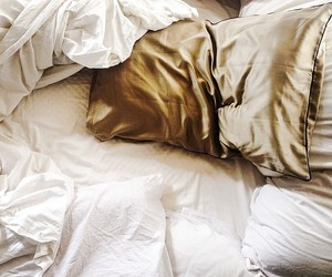 bed, gold, and sheets image