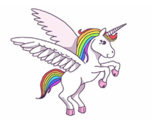 unicorn, overlay, and rainbow image