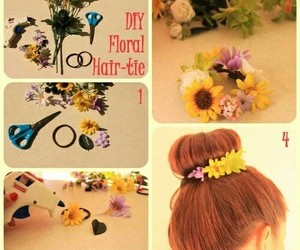 diy, flowers, and hair image