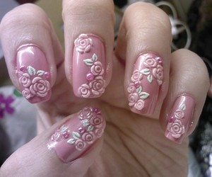 floral, pink, and nails image