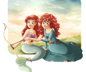 disney, ariel, and merida image