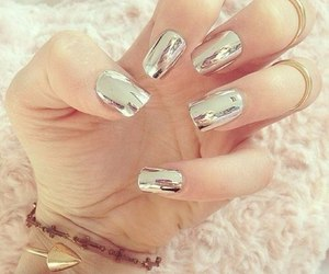 nails, metallic, and beauty image