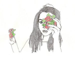 girl, flowers, and illustration image